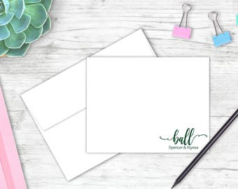 Personalized Couples Stationery Set | Set of 10 Flat Note Cards | Personalized Note Card Set | Gift for Her | Couple Stationery | FH011