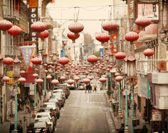 San Francisco Chinatown Red Lanterns Photograph, Vintage Red and Beige, Chinese, Lantern- Flying Lanterns