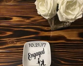 Engagement ring dish. Engagement gift. Ring dish engaged. I said yes ring dish. Mrs ring dish. Jewelry ring dish. I said yes gift.