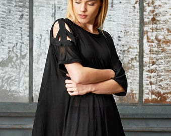 Women Tunic, Plus Size Tunic, Summer Top, See Through Blouse, Tunic Tee, Short Sleeve Tunic, Black Tunic Blouse, Punk Top, Going Out Top
