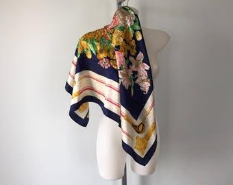 Vintage RB Blu di Balestra Silk Scarf, Vintage Silk Scarf, Vintage Equestrian Floral Scarf, Vintage Ladies Scarf, Silk Scarf