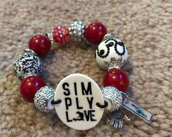 Simply Love Red Silver & Black Bracelet