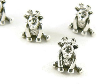 Tibetan Style Antique Silver Plated European Reindeer Charm Beads - Holiday Charms - 10 Pc - Large Hole Beads - European Supplies