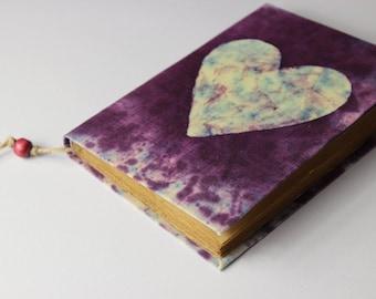 Heart Journal, diary, notebook, batik fabric, blank book, travel journal