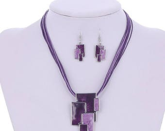 Set necklace + waxed cotton BO + enamel.