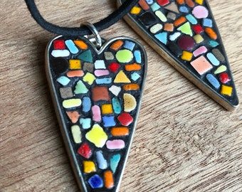 Mosaic Tiny Tiled Heart Pendant