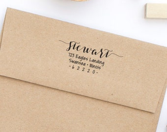 Return Address Stamp, Wood Mounted or Self-Inking Address Stamp, Wedding Invitation Stamp, Personalized Stamp, Gift for Her, Style No. 101