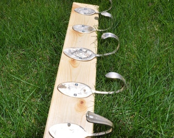 Natural Clear Coat Rack with 5 Hammered Table Spoons Recycled Silverware
