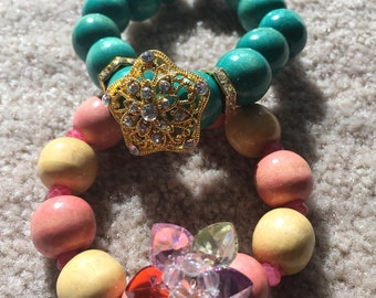 Wood Bead Stretch Bracelet with Gold Rhinestones Crystals and Gold Crystal Button