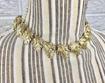 Vtg 80s Gold Leaf Necklace