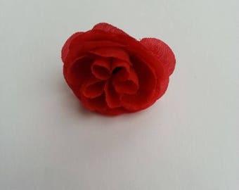 fleur en tissu rouge 35mm