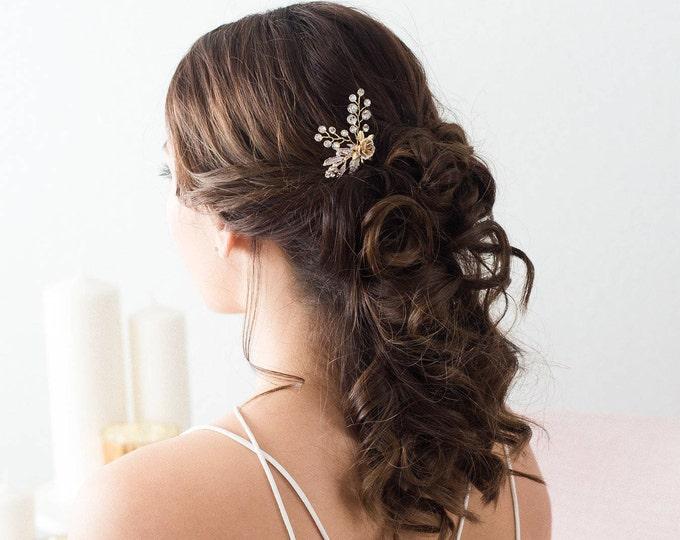 Gold flower Hair pins, Bridal Hair pins, Wedding Hair Accessories, Bridal Headpiece, Bridal Accessories, Gold Hair vine, flower hair pins