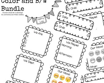 Baby Care Printable Log nanny log daycare notes Tummy Time