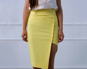 Yellow Skirt by TAVROVSKA, Fitted Knee-length Pencil Skirt with Lining
