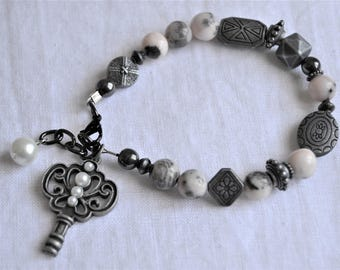 PEWTER KEY and PINK and Grey Jasper Bracelet Pewter Metal Beads
