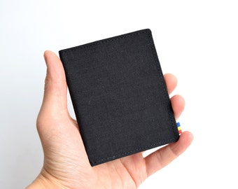 Mens Bifold Wallet. Black Cordura Wallet. Vegan Wallet. Slim Wallet. Thin Wallet. Minimalist. Upcycled Wallet.