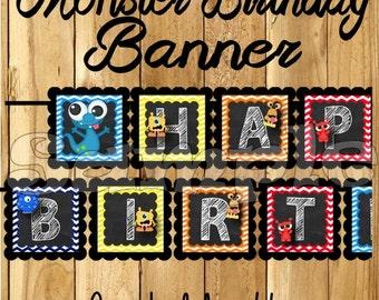 Boy Monster Birthday Banner Monster party Monster banner Monster decorations decor monsters theme 1st birthday Chalk name banner aliens