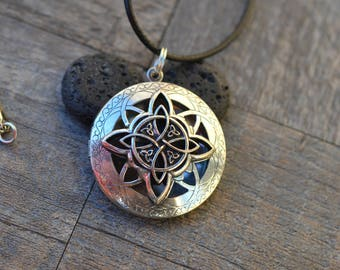 Lava Stone Essential Oil Diffuser Necklace/ Vintage Celtic/Aromatherapy Necklace/With 2ML Essential Oil