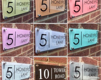 Modern house sign door number plaque / street name Pastel colour backings Large glass acrylic address plaque