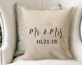 Mr & Mrs wedding date pillow cover