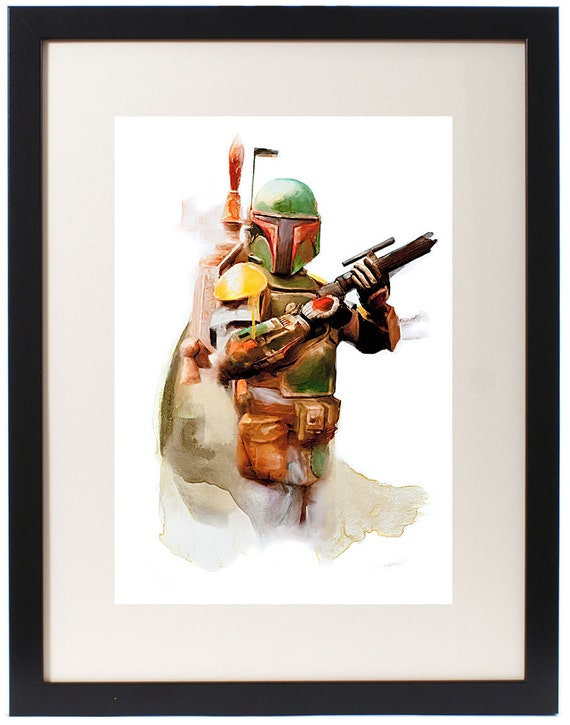 Boba Fett Star Wars Watercolor Print on Arches Watercolor