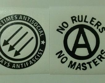 2 Decal set: Anarchy Symbol No Rulers No Masters & Antisocial Antifascist Vinyl Decals