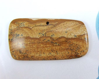 Earth Tones Picture Jasper Pendant, Brown Rectangle Pendant, Gemstone, Landscape Jasper, Beige and Brown