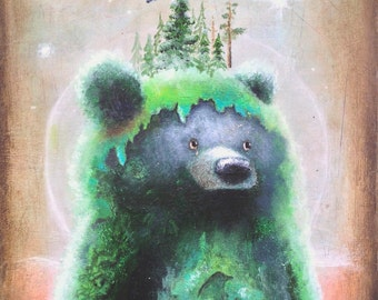 Bear Print -  Bear Art Print -  8x10 -   Abstract Art -  Psychedelic Art -  Cute Bear Art -  Surrealism -  Pop SurSurrrealism -  Nature Art