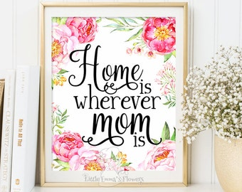 Printable Mothers day gift print wall art decor gift for mom mother's day quote printable mom wall art gifts Home Is wherever mom is 3-119