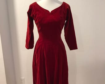 Vintage 1950's Red Velvet Dress, R&K Original Personally Yours, 50's Pin-Up Dress