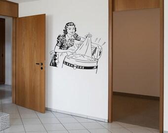 Retro Lady Doing Laundry Wash Room Interior Design Wall Art Vintage Home Decor Sticker Decal Sticker Vinyl