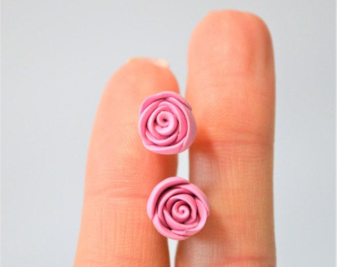 Handmade rose flower earrings - flower girl gift - flower girl earrings - thank you gift - flower studs earrings - florist gift - fimo clay