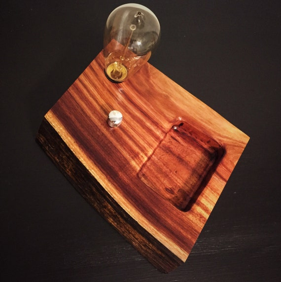 Live Koa Wood Block Desk Lamp with Tray Organizer. Edison Bulb and Telecaster style knob.
