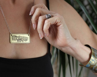 New Orleans Etched Jewelry - Necklace of Historical Map in Brass & Sterling Silver