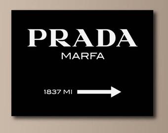 Prada Marfa White on Black Canvas Print - Gossip Girl