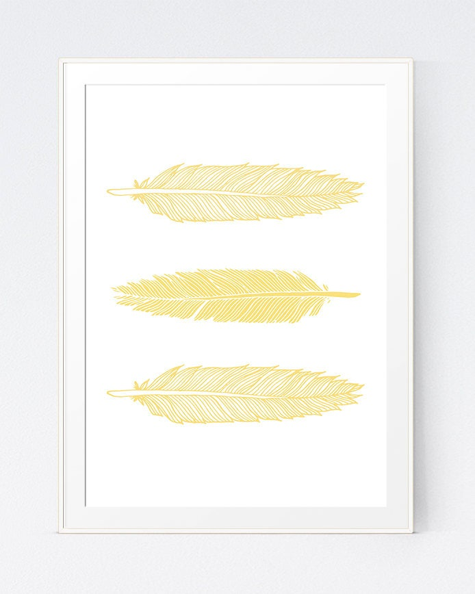Yellow Feather Print Gold Light Yellow Feather Art Gold