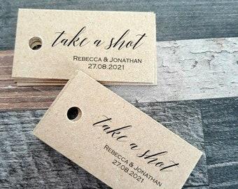 Kraft Favour Tags - Take a shot -  Favor Tags - handmade favour tags -Wedding favour tags - Custom listing