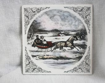 Vintage HR Johnson LTD Sleigh Ride Tile Made in England