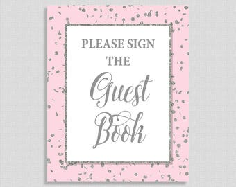 Please Sign The Guest Book Sign, Pink & Silver Glitter Shower Table Sign, Baby Girl, INSTANT PRINTABLE