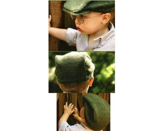 Boys Newsboy Cap Hat Knitting Pattern With Brim Child Toddler Brimmed Hat Flat Cap Knitting Pattern 3-24 Months PDF Instant Digital Download