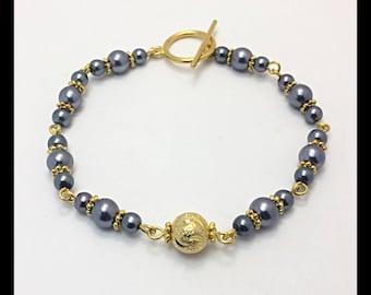 Bracelet glass beads and Golden stardust bead