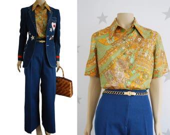 vintage shirt, vintage print 60s shirt, vintage female blouse, vintage retro shirt.