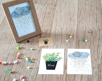Handmade Art Postcard, set of 2 postcards, Nature Illustration original pieces designed by MA-4sheets