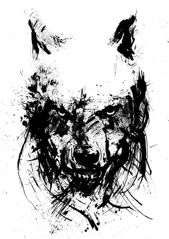 Angry wolf black and white art ink drawing animal art ink for White ink tattoo artists