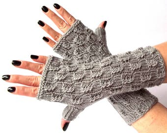 Grey Knit Fingerless Gloves. Knitted Fingerless Mittens. Arm Warmers. Wrist & Hand Warmers. Women Accessories.