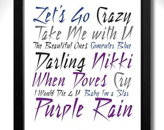PRINCE - PURPLE RAIN Album Limited Edition Unframed A4 Art Print with Song Titles