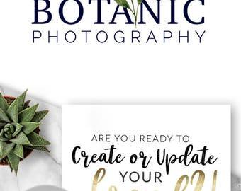 LOGO, Premade Logo, Design, Branding, Blog Header, Blog Title, Business, Boutique, Custom, Nature, Natural, Leaves, Botanical, 102