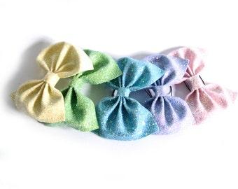 Huge Glitter Hair Bow - Pastels