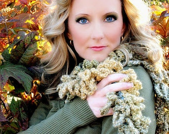 """Crocheted Loopy Scarf """"Autumn Foliage"""" Green, Mustard, Gold, Taupe ,Women's Accessory, Scarf Wrap Shawl   As featured in Model Life Magazin"""