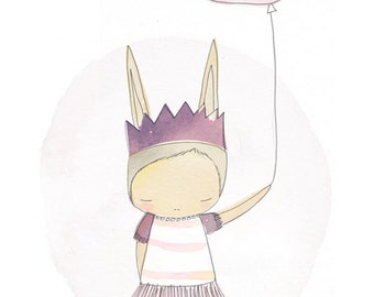 Kids Room Decor - Bunny Ballerina Pastel Pink Purple Balloon Girl - Art Print Watercolor